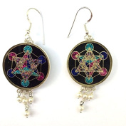 Metatron's Cube Sacred Geometry Earrings (black tourmaline) and pearls in sterling silver by Scalar Heart Collection