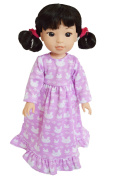 My Brittany's Lavender Bunny Nightgown for Wellie Wisher Dolls