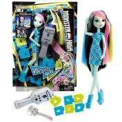Mattel Year 2015 Monster High 28cm Doll - VOLTAGEOUS HAIR FRANKIE STEIN with Electronic Hair Tool, Stencils, Yellow & Blue Extensions and Brush