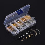 eBoot 1000 Pieces Jewellery Findings Kit Iron Fold Over Cord Ends Lobster Claw Clasps Jump Rings Extension Chains for Jewellery Making