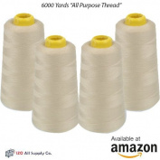 4-Pack of 6000 Yards (EACH) Beige Serger Cone Thread All Purpose Sewing Thread Polyester Spools Overlock