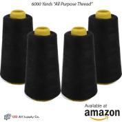4-Pack of 6000 Yards (EACH) Black Serger Cone Thread All Purpose Sewing Thread Polyester Spools Overlock
