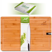 Exquisite Bamboo Wood Extra Large Cutting|Chopping Board for Meat & Vegetables, Bread & Cheese with Drip Groove, Non-Slip Silicone Feet and Built-In Knife Sharpener | Perfect Gift | by Eco President