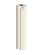 "Jillson Roberts 60mx24"" Bulk 1/4 Ream All-Occasion 2-Sided Gift Wrap, Gold/Silver Dot"