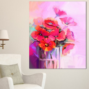 Designart PT15047-16-32 Bouquet of Poppies in Glass Vase Wall Art Canvas, 41cm x 80cm , Red