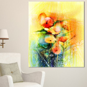 Designart PT15039-16-32 Coloured Watercolour Flowers on Yellow Wall Art Canvas, 41cm x 80cm