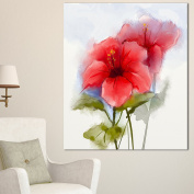 Designart PT15041-16-32 Watercolour Painting Red Hibiscus Flower Wall Art Canvas, 41cm x 80cm