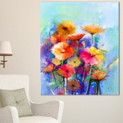 Designart PT15036-16-32 Abstract Floral Watercolour Painting Wall Art Canvas, 41cm x 80cm , Blue