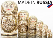 "Russian Nesting Doll - ""Golden Domes of Russia"" - Hand Painted in Russia -- BIG SIZE - Traditional Matryoshka Babushka - 7 pieces"