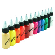 OPHIR 12x 30ml/bottle Airbrush Inks for Nail Art Nail Painting Pigment Inks Airbrushing Kit Colours Nail Tools