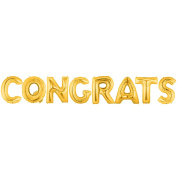 CONGRATS Alphabet Word Balloons - Gold Foil Celebration Letters 100cm