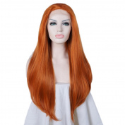 80cm Lace Front Wig 32 Inches Orange Wavy Long Lace Heat Resistant Hair