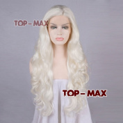 Fashion Pure White 60cm Long Curly Lace Front Wig + Wig Cap Gift