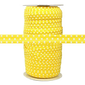 100 Yards - Yellow with White Dots - 1.6cm Fold Over Elastic - ElasticByTheYard