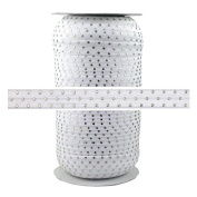 100 Yards - White Silver Dots - 1.6cm Fold Over Elastic - ElasticByTheYard