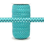 100 Yards - Teal with White Polka Dots 1.6cm Fold Over Elastic - ElasticByTheYard