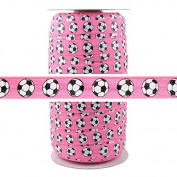 100 Yards - Soccer Pink 1.6cm Fold Over Elastic - ElasticByTheYard