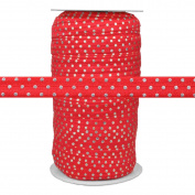 100 Yards - Silver Dots on Red 1.6cm Fold Over Elastic - ElasticByTheYard
