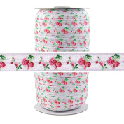 100 Yards - Roses on White 1.6cm Fold Over Elastic - ElasticByTheYard