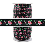 100 Yards - Roses on Black 1.6cm Fold Over Elastic - ElasticByTheYard