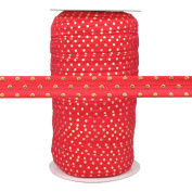 100 Yards - Red with Gold Dots - 1.6cm Fold Over Elastic - ElasticByTheYard