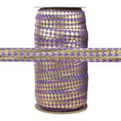100 Yards - Purple with Gold Metallic Houndstooth - 1.6cm Fold Over Elastic - ElasticByTheYard