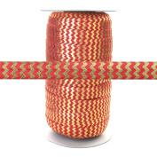 100 Yards - Poppy Red with Gold Metallic Chevron - 1.6cm Fold Over Elastic - ElasticByTheYard