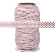 100 Yards - Pink with Small Brown Dots - 1.6cm Fold Over Elastic - ElasticByTheYard