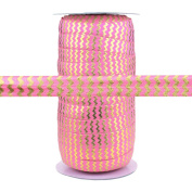 100 Yards - Pink with Gold Metallic Chevron - 1.6cm Fold Over Elastic - ElasticByTheYard