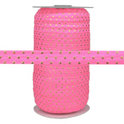 100 Yards - Neon Pink Gold Dots - 1.6cm Fold Over Elastic - ElasticByTheYard