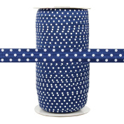 100 Yards - Navy with White Polka Dots - 1.6cm Fold Over Elastic - ElasticByTheYard