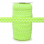 100 Yards - Lime with White Polka Dots - 1.6cm Fold Over Elastic - ElasticByTheYard