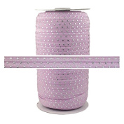 100 Yards - Lilac with Silver Dots - 1.6cm Fold Over Elastic - ElasticByTheYard
