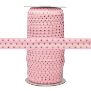 100 Yards - Light Pink with Gold Metallic Dots - 1.6cm Fold Over Elastic - ElasticByTheYard