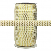 100 Yards - Ivory with Gold Metallic Chevron - 1.6cm Fold Over Elastic - ElasticByTheYard