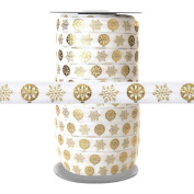 100 Yards - Gold Metallic Snowflake Ornaments on White - 1.6cm Fold Over Elastic - ElasticByTheYard