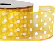 Sunshine Yellow w/ White Dot Ribbon 5.1cm - 1.3cm x 25 yds Wired 100% Nylon (5 Rolls) - WRAPS-52973