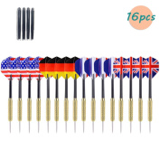 Thiroom 16 Pcs Tip Darts with National Flag Flights (4 Styles) - Stainless Steel Needle Tip Dart + Aluminium Shaft or PVC Rods