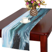 InterestPrint Summer Sea Water Cotton Table Runner Placemat 41cm x 180cm , Ocean Waves Table Linen Cloth for Office Kitchen Dining Wedding Party Home Decor