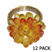 Cotton Craft - 12 Pack Beaded Napkin Ring Set - Flower Burst Multi - Hand Made by skilled artisans - A beautiful complement to your dinner table décor