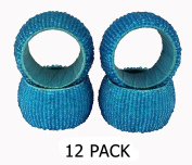 Cotton Craft - 12 Pack Beaded Napkin Ring Set - Aqua Blue - Hand Made by skilled artisans - A beautiful complement to your dinner table décor