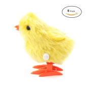Wind-Up Novelty Jumping Chicken – Party Favour Gag Toy – Easter Egg Baby Bird Yellow Chick Decoration – Pack Of 6