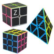 D-FantiX Carbon Fibre Speed Cube 2x2 3x3 Pyraminx Bundle, Magic Cube Puzzle Toys for Kids