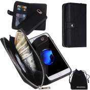 DRUnKQUEEn iPhone 7 Plus Case, Zipper Wallet Type Flip Folio Case Premium Leather Credit Card Holder Feature - Detachable Magnetic Back Cover with Lanyard Wrist Hand Strap for iPhone 7Plus