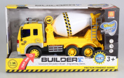 AMPERSAND SHOPS Power Builder Construction Cement Mixer Truck Toy with Lights and Sound Friction Powered