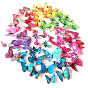 HDYD 72pcs 3d Butterfly Stickers Wall Stickers Crafts Butterflies with Sponge Gum and Pins (6 Colour)