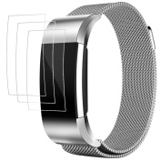 Fitbit Charge 2 Band with Screen Protectors, AFUNTA 3 Pack Anti-scratch TPU Protective Films, with 1 Magnetic Stainless Steel Wristband Bracelet 14cm - 22cm