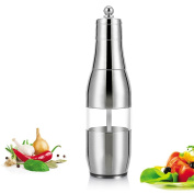 LOHOME Salt and Pepper Grinder - [Stainless Steel+Acrylic] Salt and Pepper Mill Manual Spice Grinders with Adjustable Fineness Bottle Shape Salts Mill with Ceramic Grinding Core