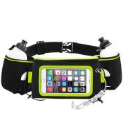 iRainy Neoprene Water-Proof Hydration Running Belt W Touchscreen Zipper Pockets Fitness Workout Belt with Two 350ml BPA-Free Leak-Proof Water Bottles Belt Fits All Smartphones