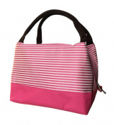 Durable Oxford Cloth Reusable Lunch/Bento Bag Waterproof Zipper Cooler Bag, Stripe#16 Rose Red